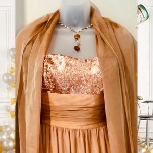 Kay Unger Dresses - 🥂 Kay Unger Peach Gold Evening Gown - AS IS